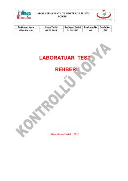 LABORATUAR TEST REHBERİ