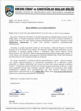 genelge no 014 - Ankara Ve Esnaf Sanatkarları Odaları Birliği