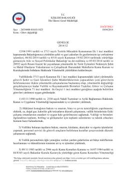 GENELGE 2014/12 12/04/1991 tarihli ve 3713 sayılı Terörle