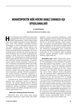 hematopoetik kök hücre nakli sonrası aşı uygulamaları