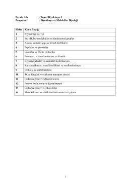 Biyokimya ve Moleküler Biyoloji Doktora Programı Ders İçeriği