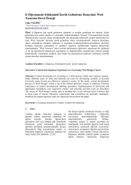 E-Öğrenmede Etkileşimli İçerik Geliştirme Deneyimi: Web Tasarımı
