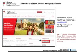 Alternatif E-posta Adresi ile Yeni Şifre Belirleme