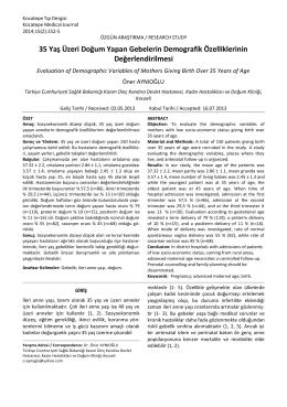 35 Yaş Üzeri Doğum Yapan Gebelerin Demografik Özelliklerinin
