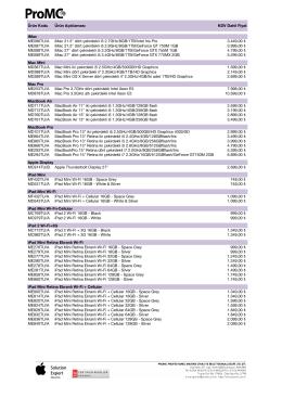 ProMC Fiyat Listesi 01-2014