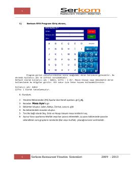 Serkom Restaurant Yönetim Sistemleri 2009