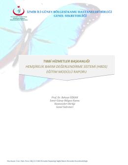 HBDS Eğitim Modülü - İzmir Güney Kamu Hastaneleri Birliği Genel