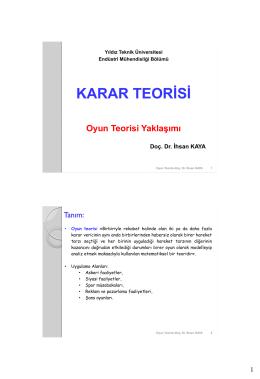 YÖNEYLEM (HAREKAT) ARAŞTIRMASI (OPERATIONS
