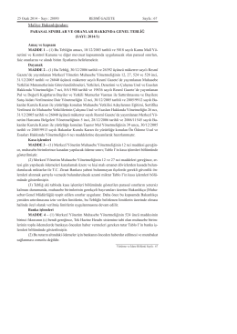 Parasal Sınırlar Ve Oranlar Hakkında Genel Tebliğ (Sayı 2014-1)