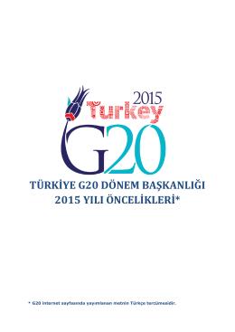 türkiye g20 dönem başkanlığı 2015 yılı öncelikleri