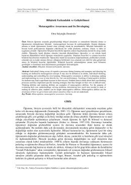 Tam Metin - Trakya Üniversitesi Eğitim Fakültesi Dergisi