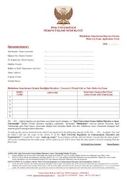 Bütünleme Sınavı Başvuru Formu - ipek üniversitesi öğrenci işleri