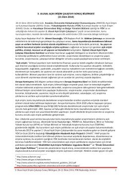 AE2014 Sonuç Bildirgesi