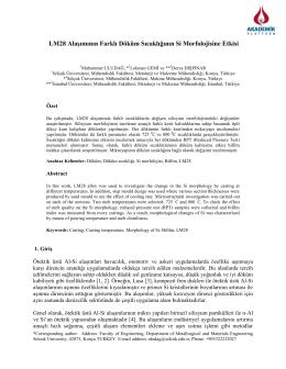 Lm28 Alaşımının Farklı Döküm Sıcaklığının Si Morfolojisine Etkisi