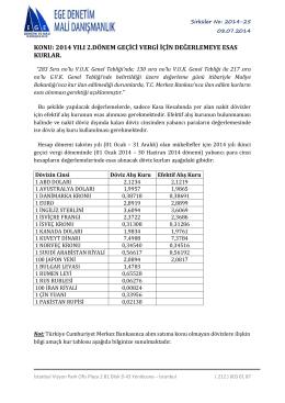 2014 yılı 2.dönem geçici vergiye esas değerleme kurları