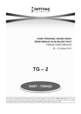 TG – 2 - İhtiyaç Yayıncılık