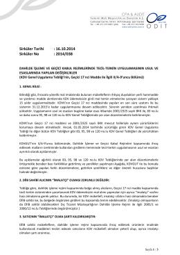 Sirküler Tarihi : 16.10.2014 Sirküler No : 2014/038
