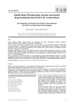 İshalli Dışkı Örneklerinde Giardia Intestinalis Koproantijenlerinin