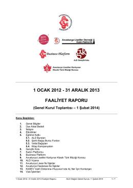 1 ocak 2012 - 31 aralık 2013 faaliyet raporu