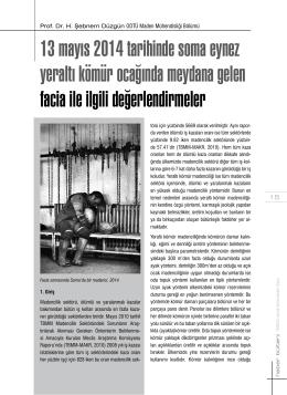 13 mayıs 2014 tarihinde soma eynez yeraltı kömür ocağında
