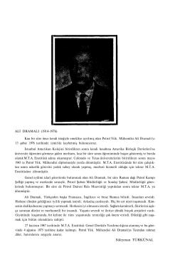 ALİ DRAMALI (1914-1976) Kısa bir süre önce kendi