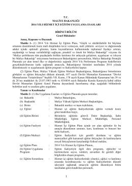 T.C. MALİYE BAKANLIĞI 2014 YILI HİZMET İÇİ EĞİTİM UYGULAMA