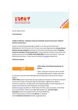 TÜSEV e-bülten sayı 82, Ağustos 2014