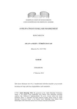 17 Haziran 2014 tarihli Aslan ve Sezen v. Türkiye