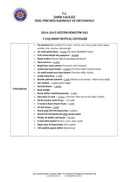 ana 3 yaş sınıfı ihtiyaç listesi