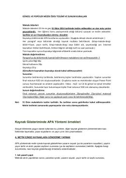 Kaynak Gösteriminde APA Yöntemi örnekleri
