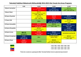 2014-2015 güz yarıyılı ara sınavı programı