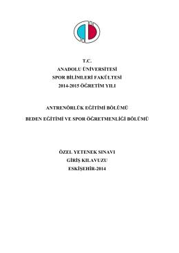 tc anadolu üniversitesi spor bilimleri fakültesi 2014