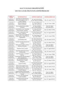 kalp ve damar cerrahisi kliniği 2014 yılı 6 aylık (nisan