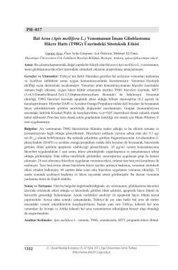 PH–017 Bal Arısı (Apis mellifera L.) Venomunun İnsan Glioblastoma