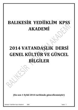 güncel 2014 - Balıkesir Yediiklim Akademi