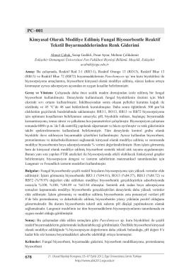 PC–001 Kimyasal Olarak Modifiye Edilmiş Fungal Biyosorbentle
