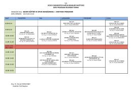 anabilim dalı - Düzce Üniversitesi Beden Eğitimi ve Spor