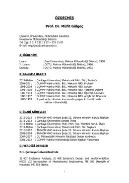 MGulgecCV-Temmuz 2014 - çankaya üniversitesi mekatronik