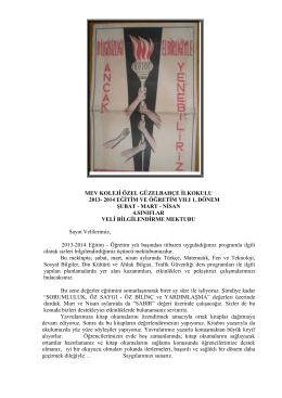2014 eğitim ve öğretim yılı 1. dönem şubat - mart - nisan