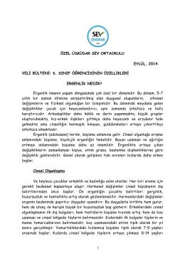 6. Sınıf Çocuklarının Özellikleri - Özel Üsküdar SEV İlköğretim Okulu