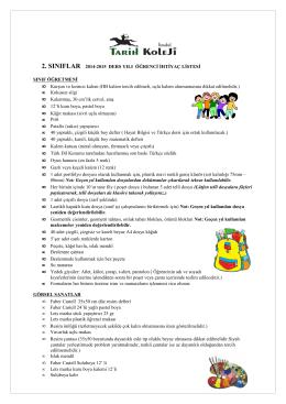 2.Sınıf 2014- 2015 ders yılı ihtiyaç listeleri