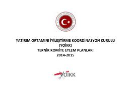 (yoikk) teknik komite eylem planları 2014-2015