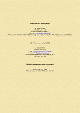 Trakya Üniversitesi İlahiyat Fakültesi Tel: 0284 213 84 68 Faks: 0