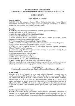 OMÜ-AGED İlkeleri Yönergesi - Ondokuz Mayıs Üniversitesi