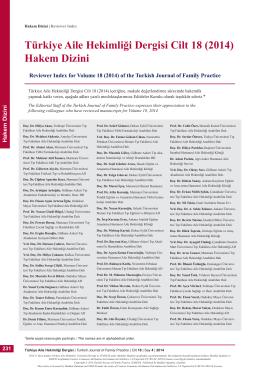 PDF - Türkiye Aile Hekimliği Dergisi Cilt 18 (2014) Hakem Dizini