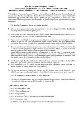 bingöl üniversitesi rektörlüğü 2014-2015 eğitim