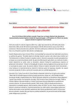 Automechanika Istanbul 2014 Kapanis bülteni (PDF, 502.36 KB)