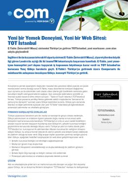 Yeni bir Yemek Deneyimi, Yeni bir Web Sitesi: TOT İstanbul