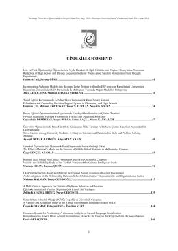 EF Dergi-İçindekiler - Hacettepe Üniversitesi Eğitim Fakültesi Dergisi