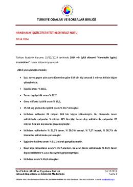 2014 Yılı Eylül Ayı Hanehalkı İşgücü İstatistikleri B.N.